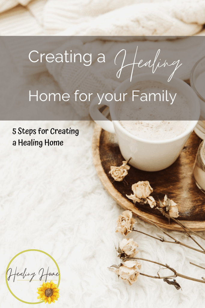 healing home pinable image with coffee cup on platter