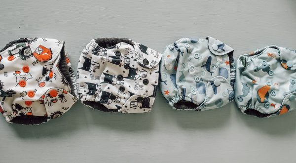 cloth diapers lined up