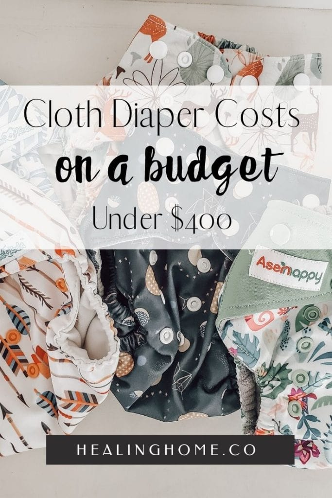 cloth diapers on a table with a budget
