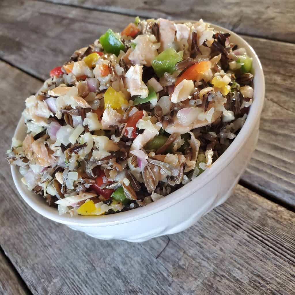 Cauliflower rice salad on a table
