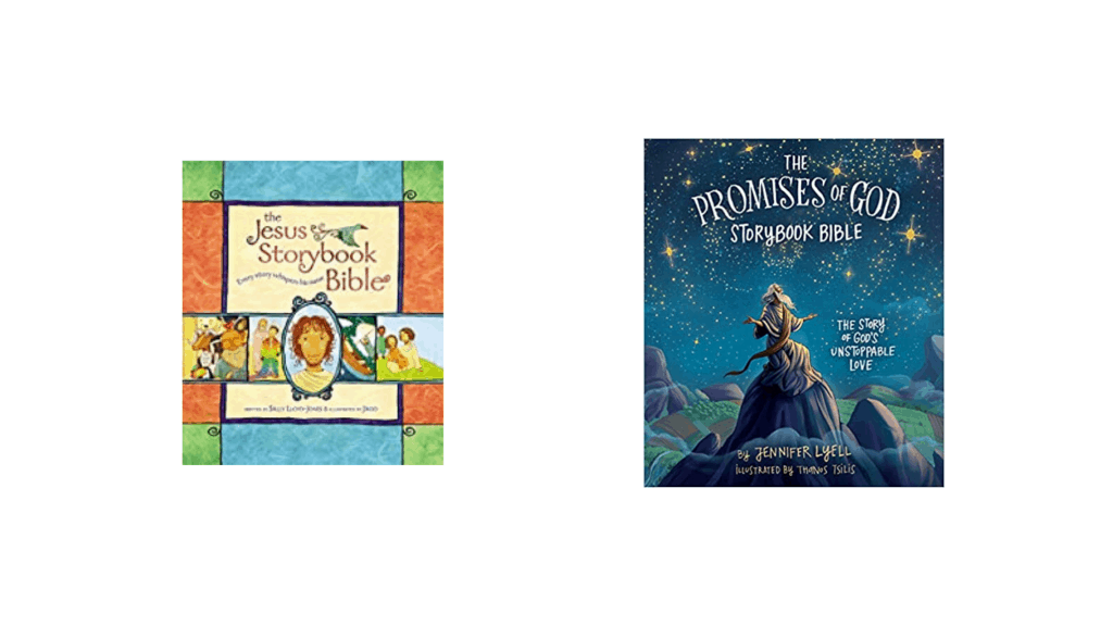 Image of two book covers of bibles for children.