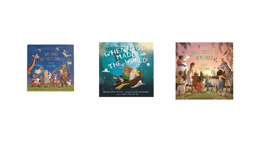 Three book covers of the best Christian kid books that talk about creation.