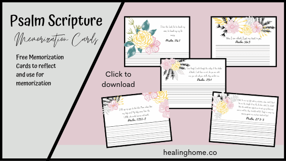 scripture memorization cards with flowers