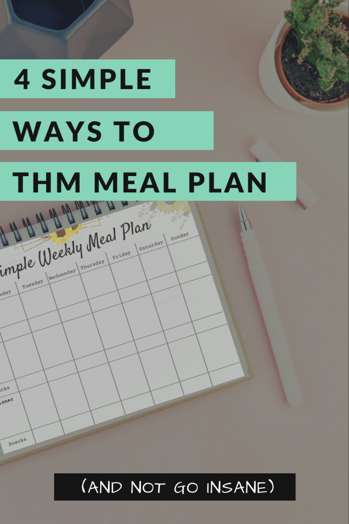 Trim Healthy Mama Meal plan with pen next to planner