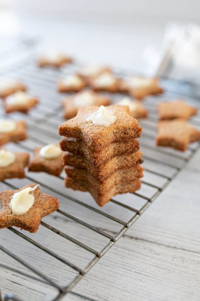 Keto Spice Cookies on a tray from Yellow Glass Dish