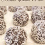 avocado chocolate truffles for pinterest with white plate