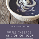 Purple cabbage with onions floating in soup