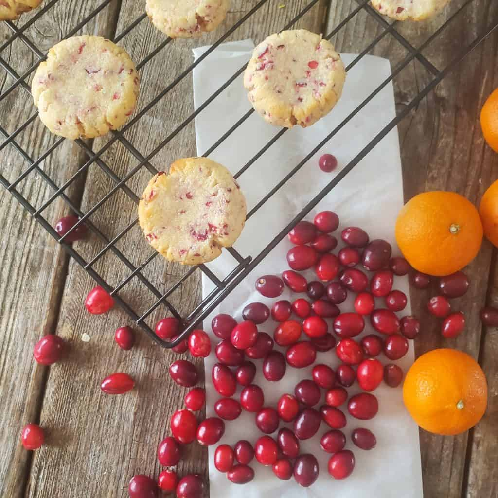 sugar free shortbread cookies on a cooling rack