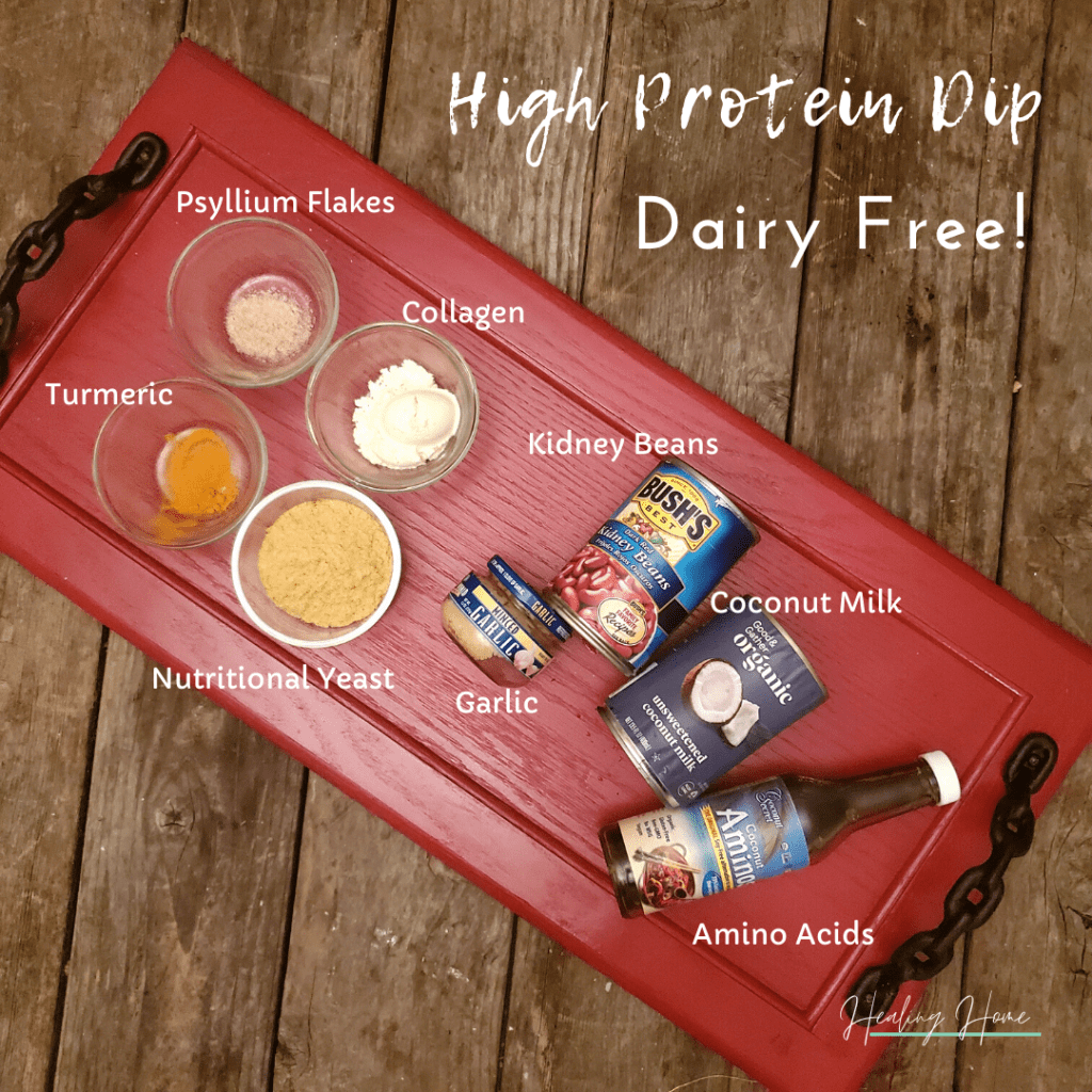 high protein dip ingredients laid out