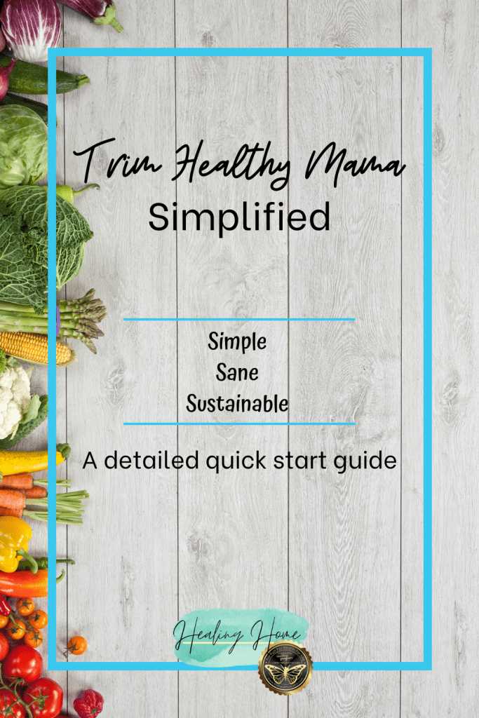 Trim Healthy Mama simplified on white wood