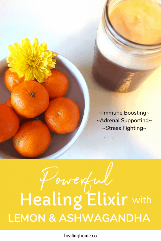 healing elixir on table with oranges