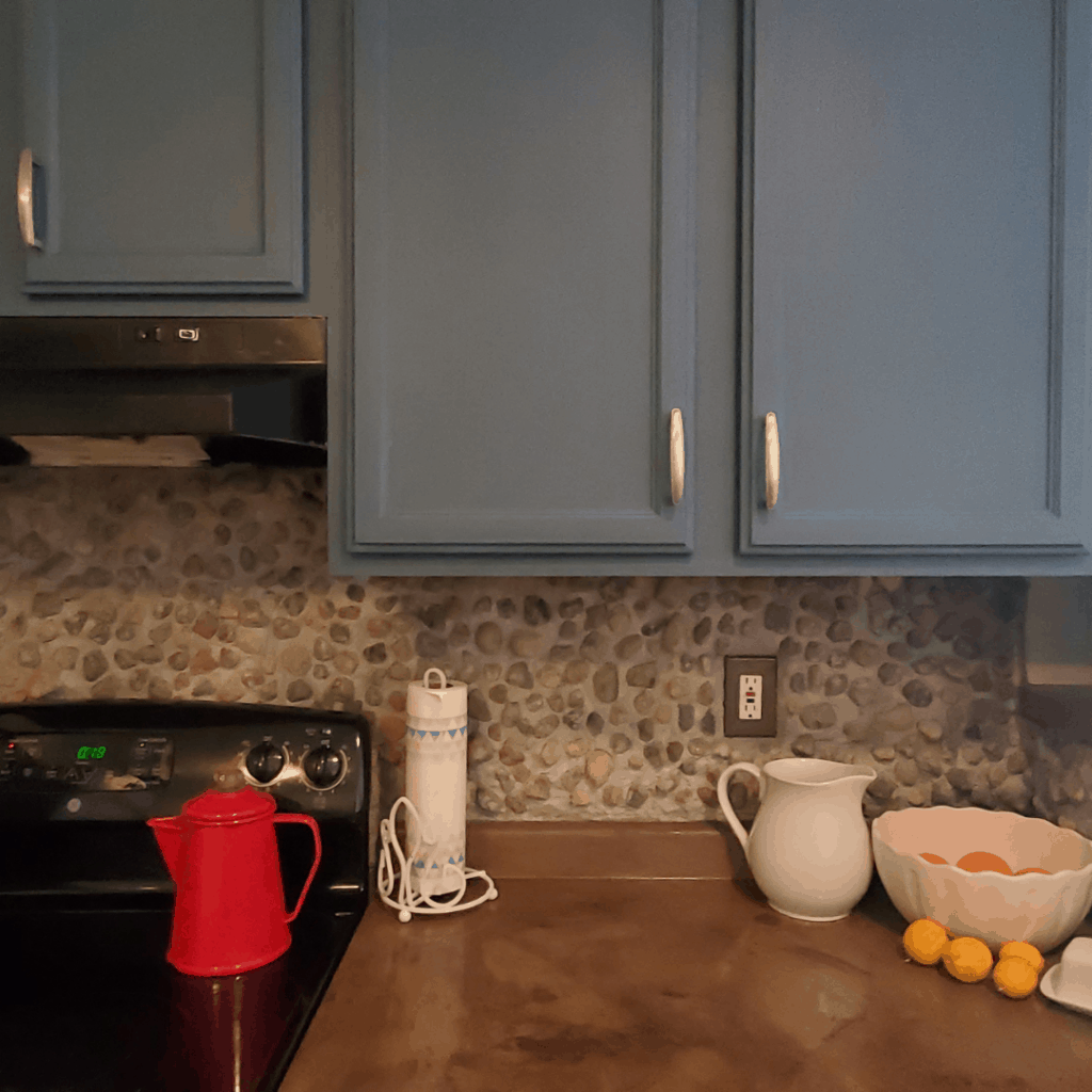 blue cabinets on counter