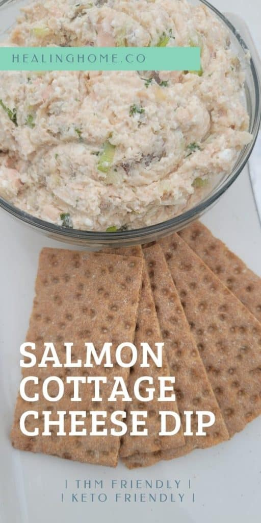 salmon cottage cheese dip in a mixing bowl
