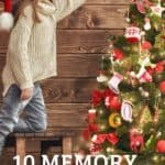 child placing ornament on three wtih title of blog