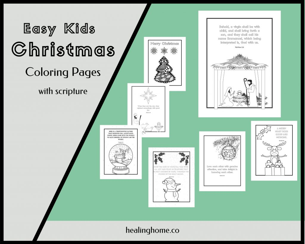Easy Christmas coloring pages
