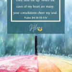 umbrella with rain and scripture
