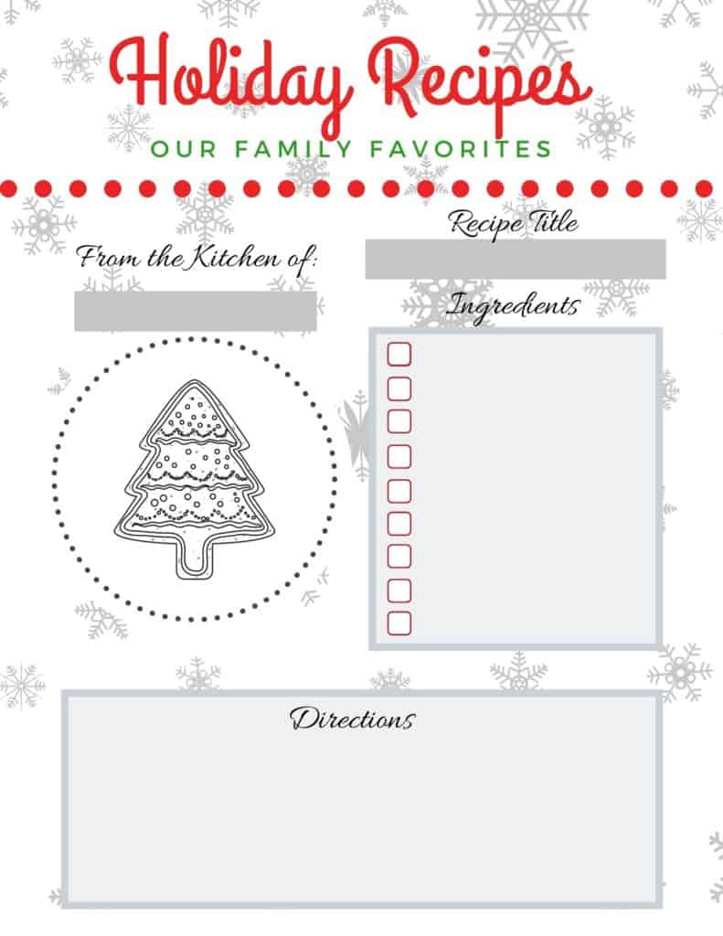 Holiday recipe kids cards