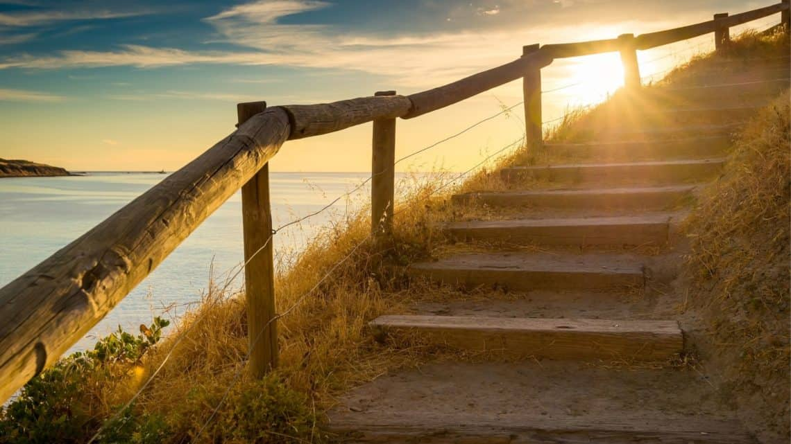 walkway and sunrise
